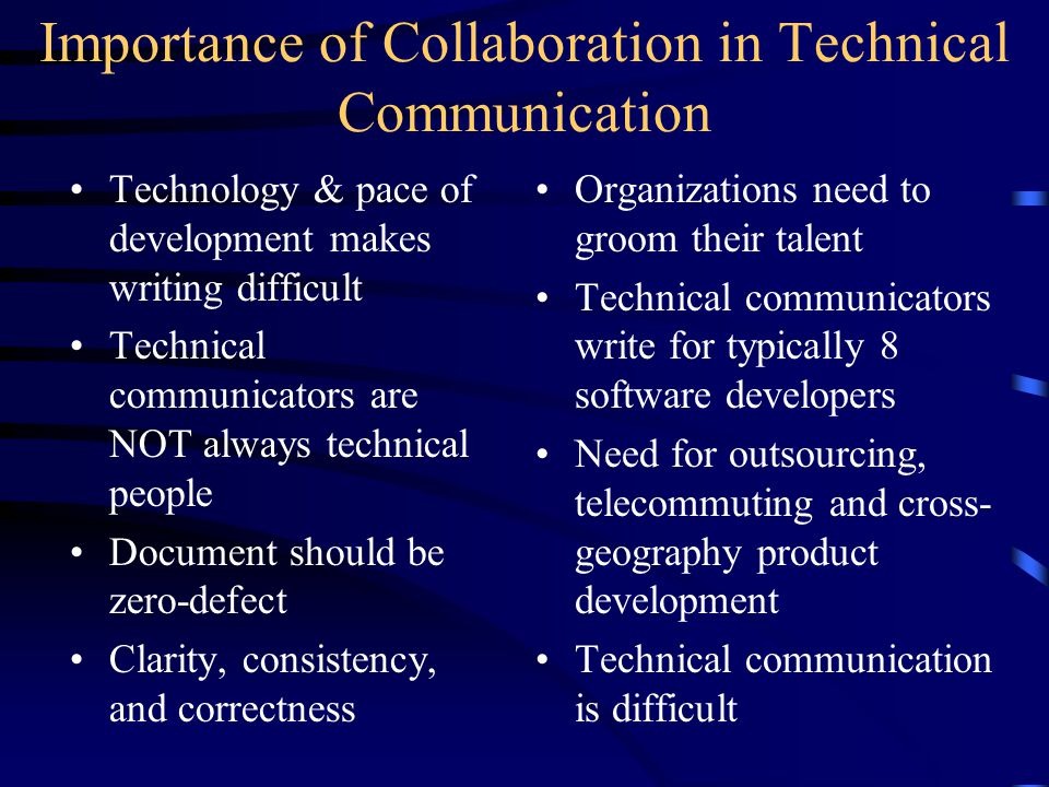 Technology & pace of development makes writing difficult Technical communicators are NOT always technical people Document should be zero-defect Clarity, consistency, and correctness Organizations need to groom their talent Technical communicators write for typically 8 software developers Need for outsourcing, telecommuting and cross- geography product development Technical communication is difficult Importance of Collaboration in Technical Communication