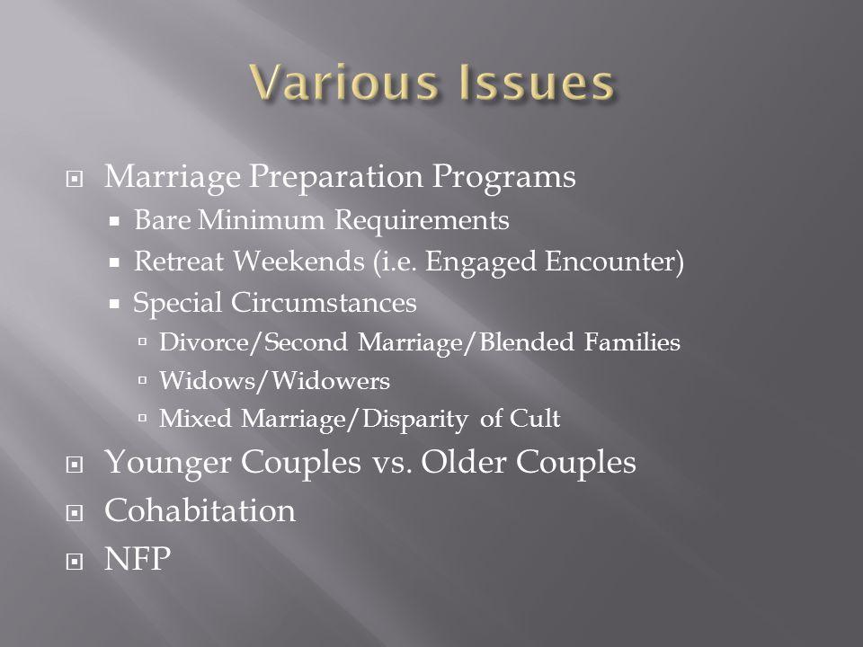  Marriage Preparation Programs  Bare Minimum Requirements  Retreat Weekends (i.e.