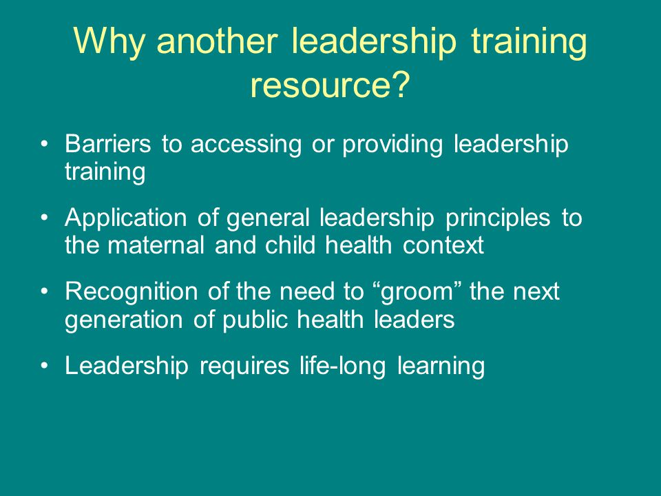 Why another leadership training resource.