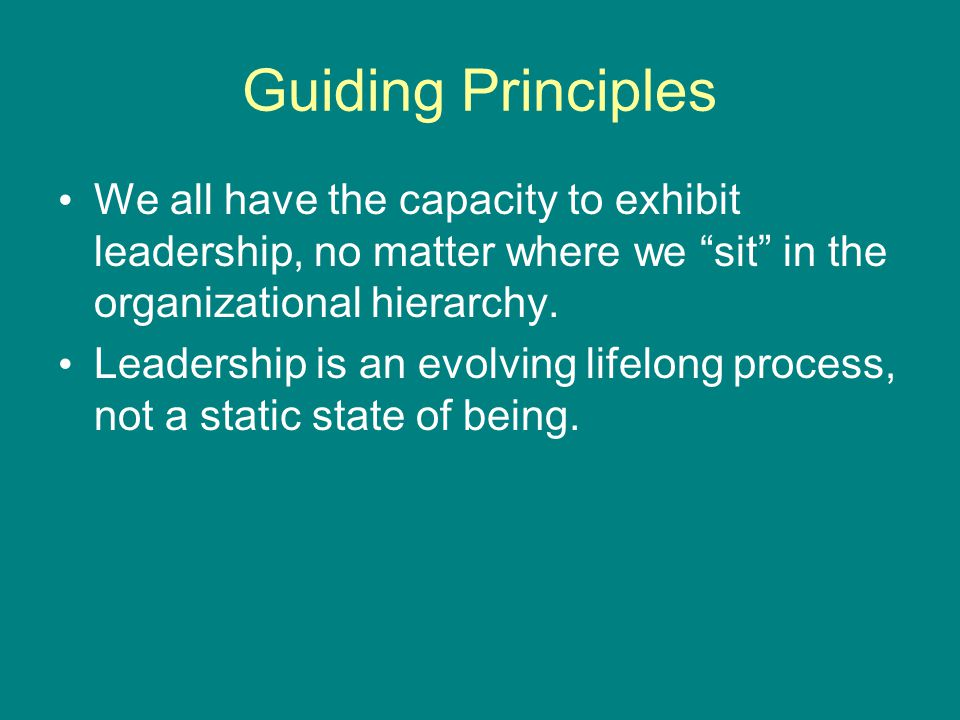Guiding Principles We all have the capacity to exhibit leadership, no matter where we sit in the organizational hierarchy.