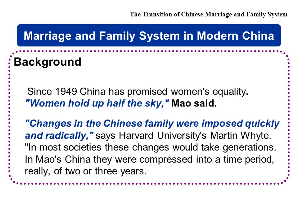 Background Since 1949 China has promised women s equality.