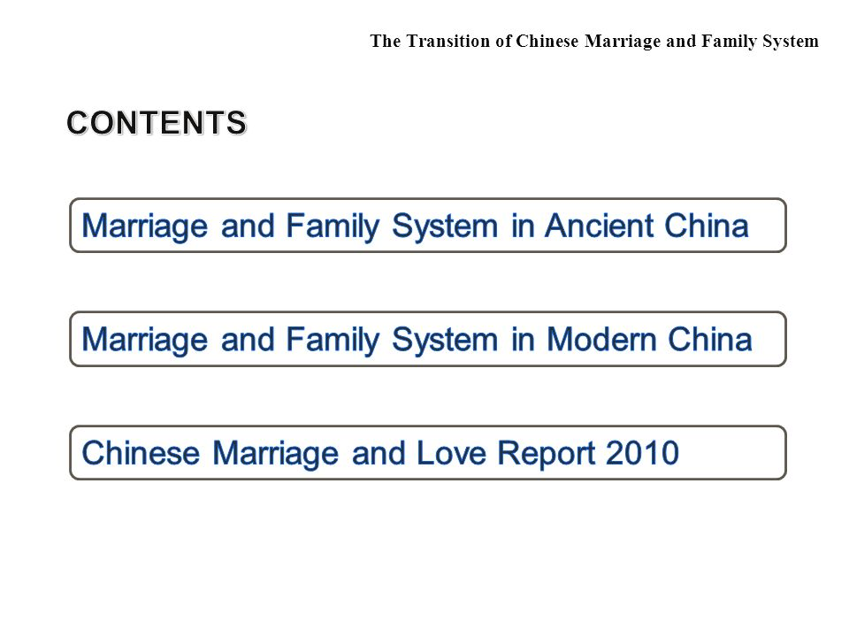  Chinese marriage and love report 2009 The Transition of Chinese Marriage and Family System About the elder spouse: male female (1)Younger than you 29.1% 0 (2)0-1 years older than you 15.7% 2.8% (3) 2-3years older than you 35.5% 10.5% (4) 4-5 years older than you 3.5% 32% (5) 6-10 years older than you 3.5% 36.8% (6)11-20 years older than you 0 3.6% (7) more than 20 years older than you 0 0.4% (8) age is not a problem 12.8% 13.8%