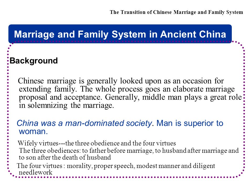  Chinese marriage and love report 2009 The Transition of Chinese Marriage and Family System Will you accept your spouse having higher education : male female (1)yes 77.3% 47.8% (2) Reluctantly accept 14% 27.5% (3) no 3.5% 11.3% (4) indefinitely 5.2% 13.4%