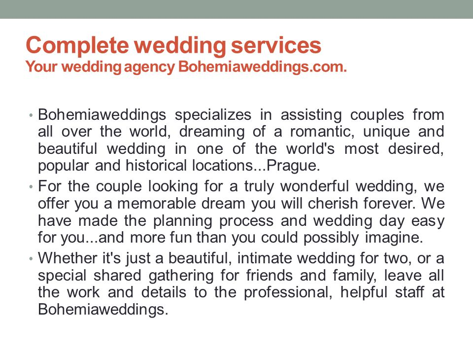 Complete wedding services Your wedding agency Bohemiaweddings.com.
