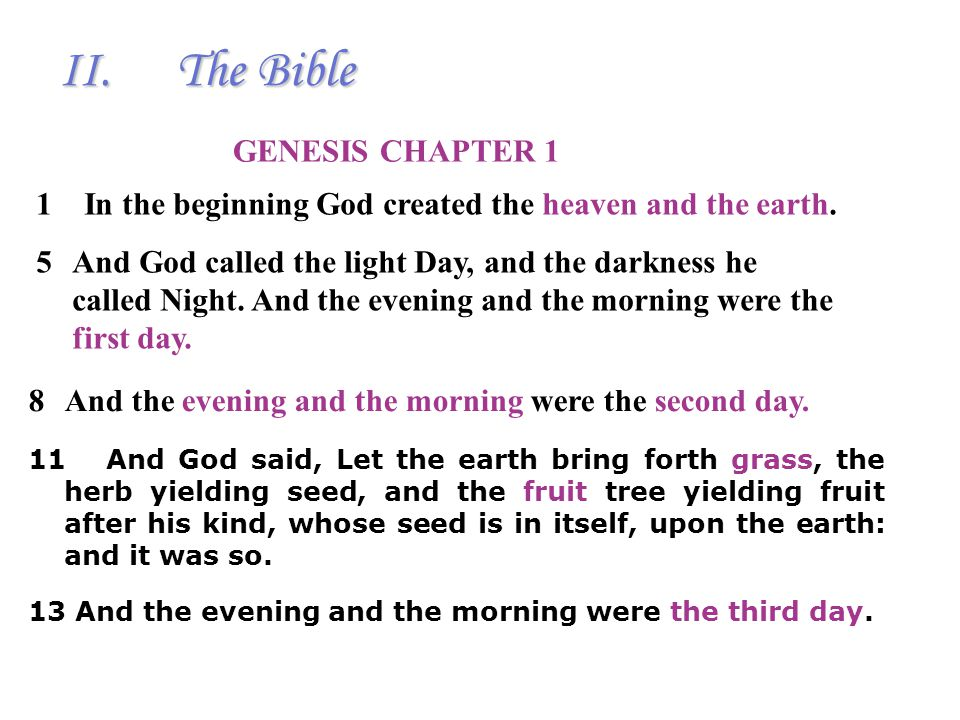 Holy Script The Bible (Bible— book in Greek) Old Testament New Testament II.The Bible