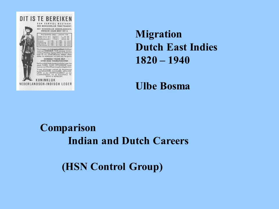 Migration Dutch East Indies 1820 – 1940 Ulbe Bosma Retrieving HSN-research persons - Indian archives (Directories) - Registers Military, Civil Servant