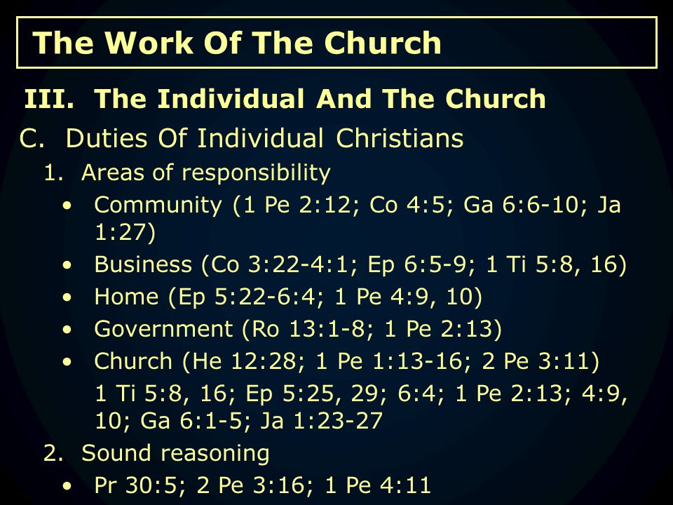 The Work Of The Church C. Duties Of Individual Christians 1.