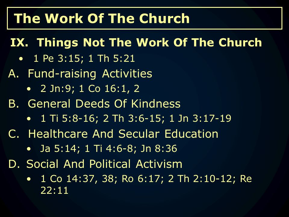 The Work Of The Church 1 Pe 3:15; 1 Th 5:21 A. Fund-raising Activities 2 Jn:9; 1 Co 16:1, 2 B.