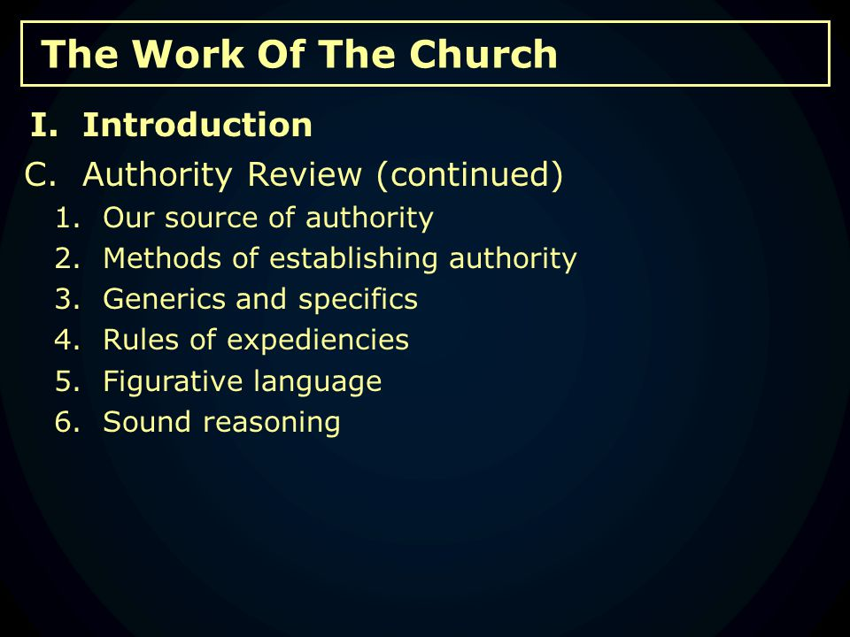 The Work Of The Church C.Social And Recreational Activity 1.