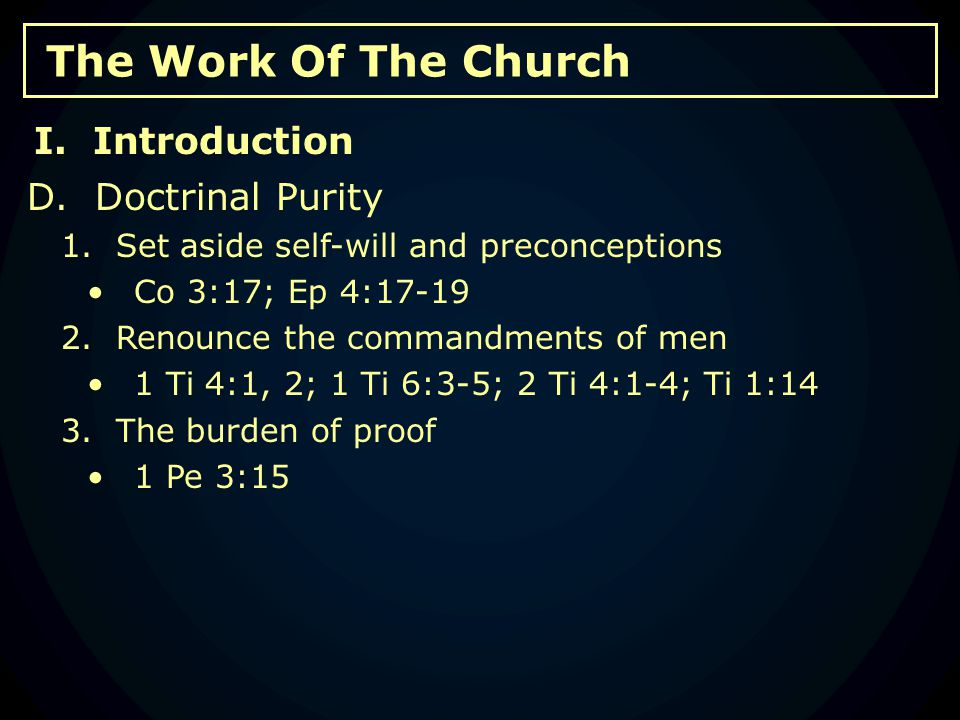 The Work Of The Church A.