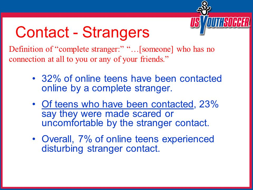 Contact - Strangers 32% of online teens have been contacted online by a complete stranger.