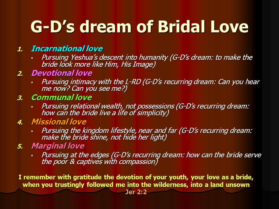 G-D's dream of Bridal Love 1. 1.