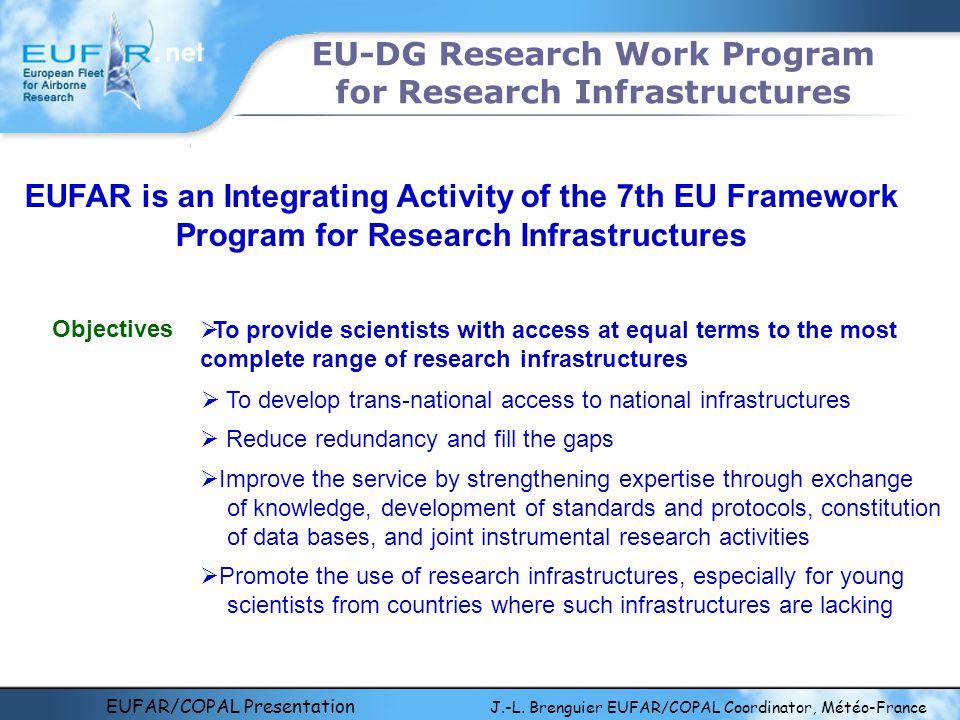 EUFAR/COPAL Presentation J.-L. Brenguier EUFAR/COPAL Coordinator, Météo-France EU-DG Research Work Program for Research Infrastructures Objectives  T