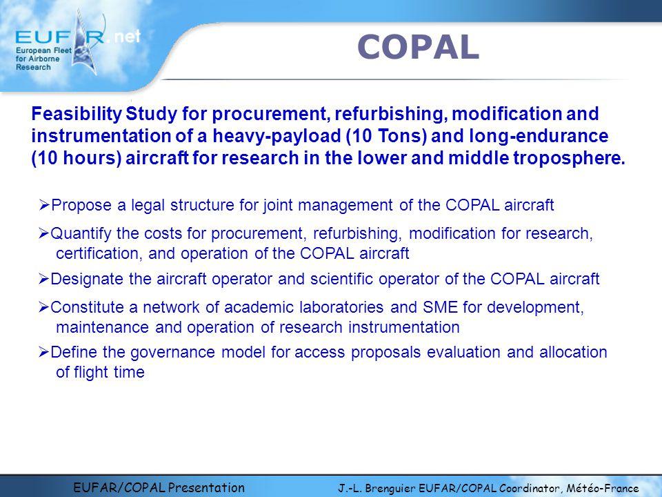 EUFAR/COPAL Presentation J.-L. Brenguier EUFAR/COPAL Coordinator, Météo-France COPAL Feasibility Study for procurement, refurbishing, modification and