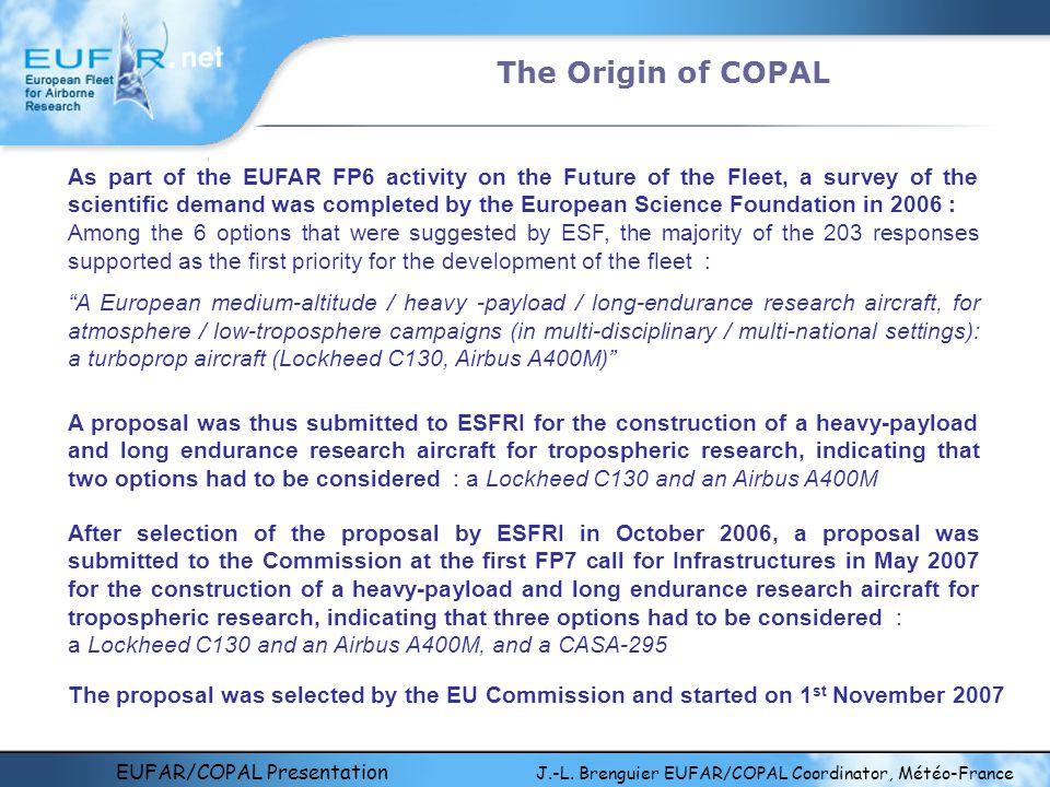 EUFAR/COPAL Presentation J.-L. Brenguier EUFAR/COPAL Coordinator, Météo-France The Origin of COPAL As part of the EUFAR FP6 activity on the Future of
