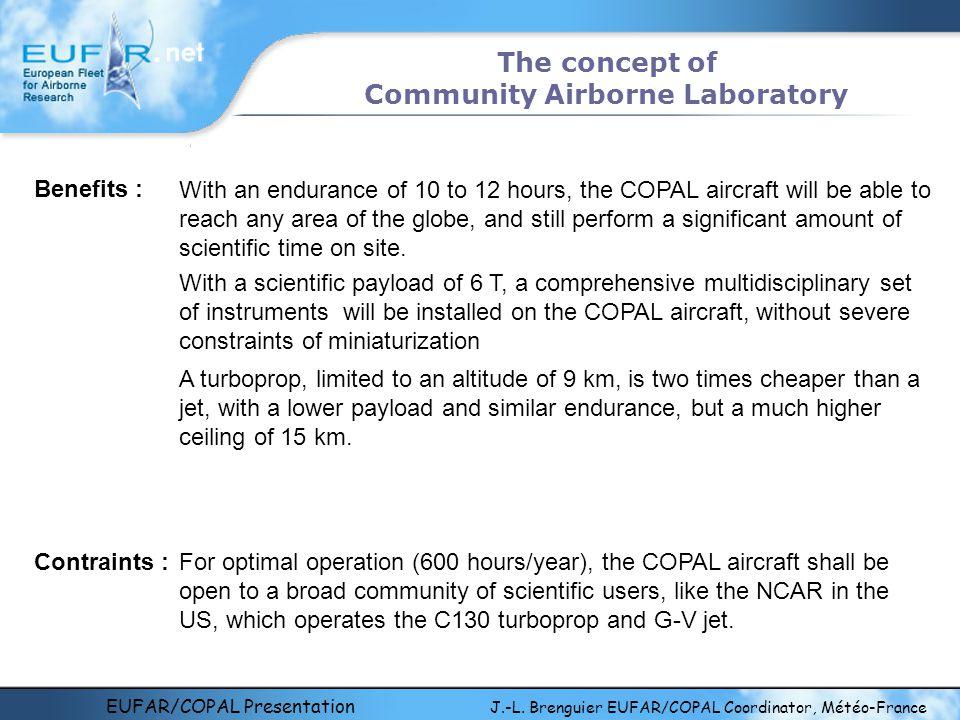 EUFAR/COPAL Presentation J.-L. Brenguier EUFAR/COPAL Coordinator, Météo-France The concept of Community Airborne Laboratory Benefits : With an enduran