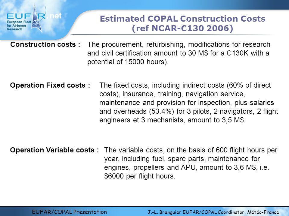 EUFAR/COPAL Presentation J.-L. Brenguier EUFAR/COPAL Coordinator, Météo-France Estimated COPAL Construction Costs (ref NCAR-C130 2006) Construction co