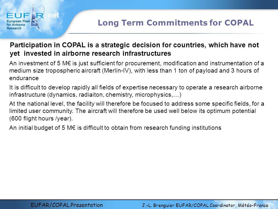 EUFAR/COPAL Presentation J.-L. Brenguier EUFAR/COPAL Coordinator, Météo-France Long Term Commitments for COPAL Participation in COPAL is a strategic d