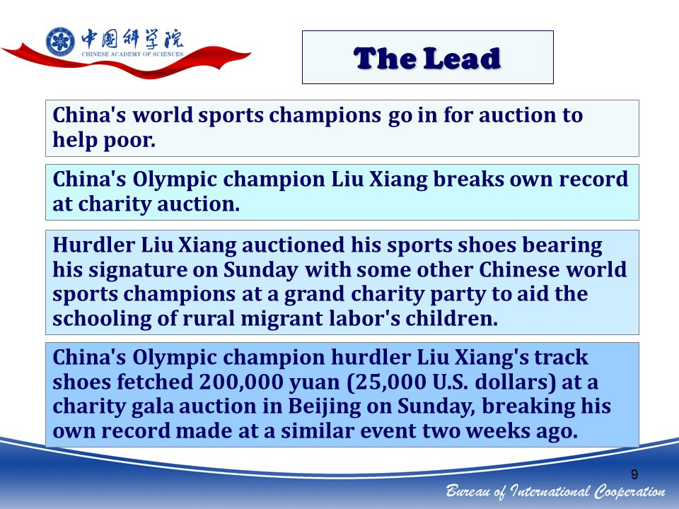 9 The Lead China s world sports champions go in for auction to help poor.