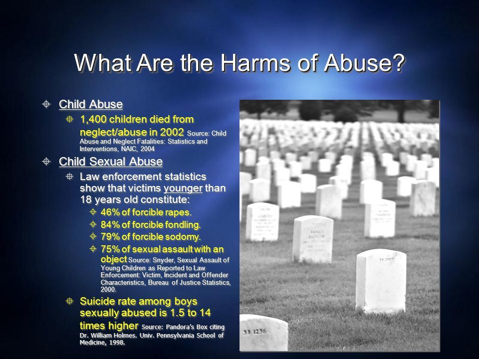  Child Abuse  1,400 children died from neglect/abuse in 2002 Source: Child Abuse and Neglect Fatalities: Statistics and Interventions, NAIC, 2004 