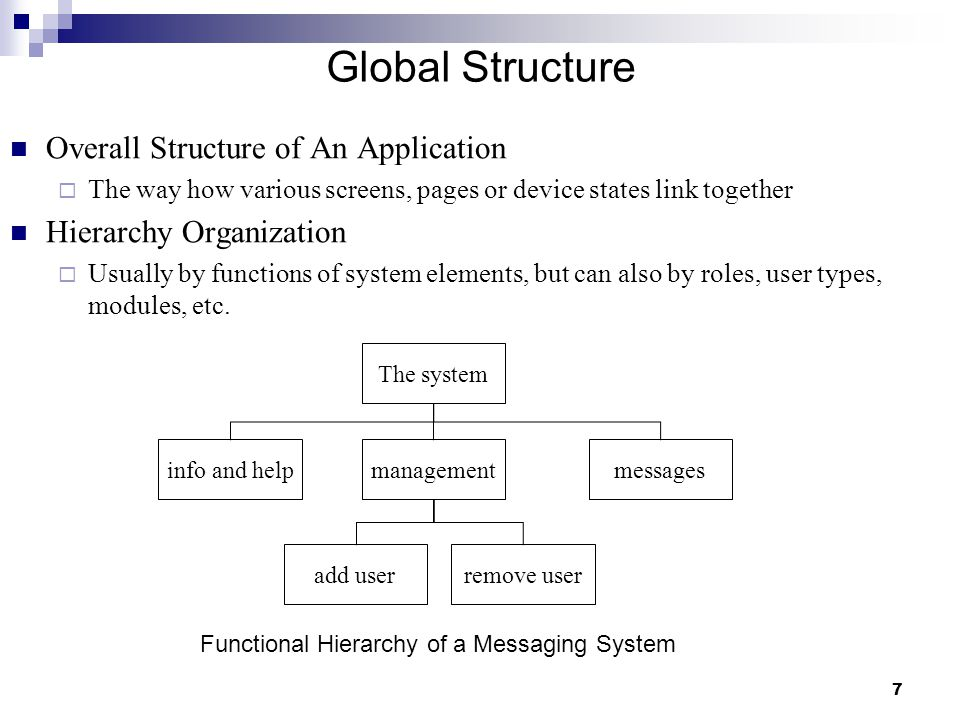 8 Global Structure Hierarchy Organization (Cont.)  Detailed knowledge of the intended user is essential Different people may have different internal structures for their knowledge and may use different vocabulary It is not good to create a hierarchy that the designer understands but not the users  Deep hierarchies are difficult to navigate It is better to have broad top-level categories or to present just a few levels of menu on one screen or web page Items on a screen or page should be structured, depending on the user's purpose  e.g.