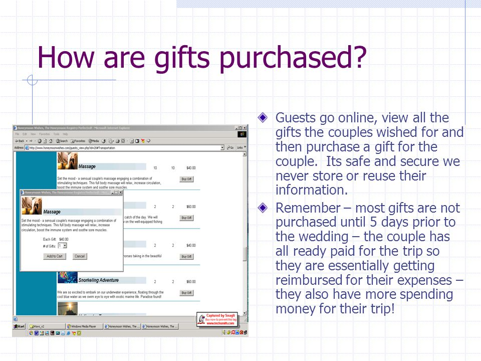 How are gifts purchased.