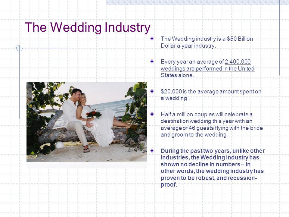 The Wedding Industry The Wedding industry is a $50 Billion Dollar a year industry.