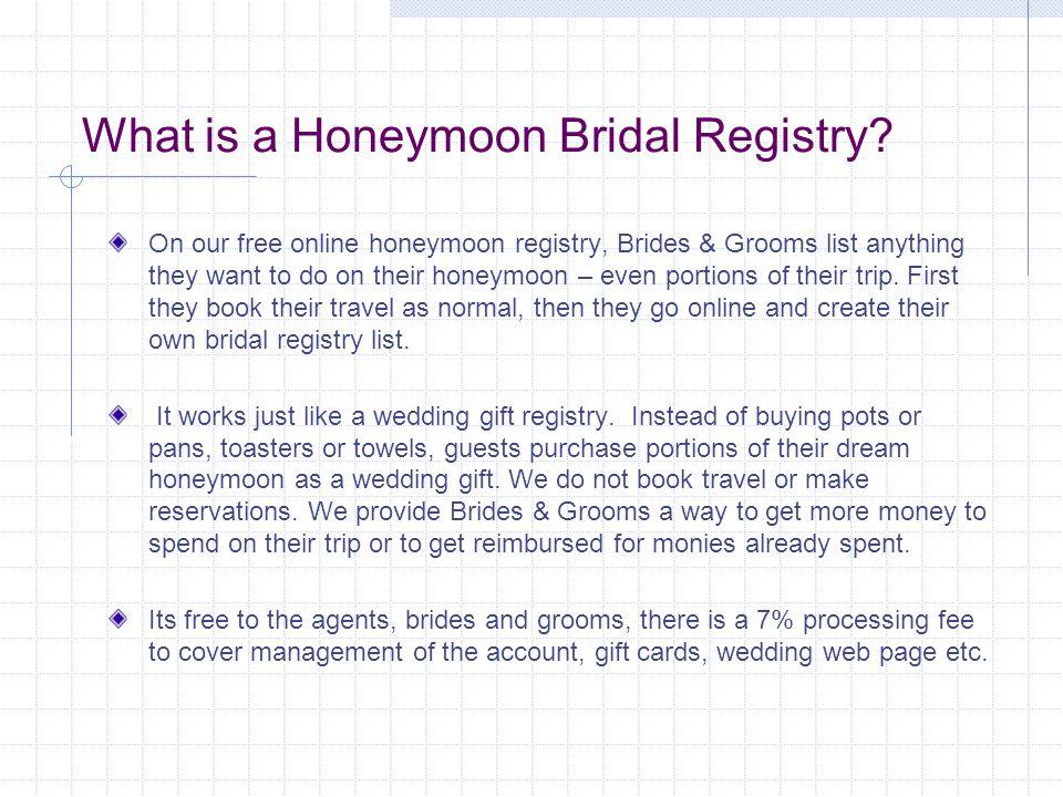 What is a Honeymoon Bridal Registry.