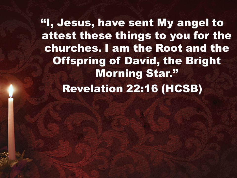 """""""I, Jesus, have sent My angel to attest these things to you for the churches. I am the Root and the Offspring of David, the Bright Morning Star."""" Reve"""