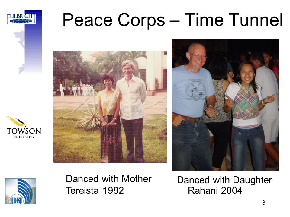 8 Peace Corps – Time Tunnel Danced with Mother Tereista 1982 Danced with Daughter Rahani 2004