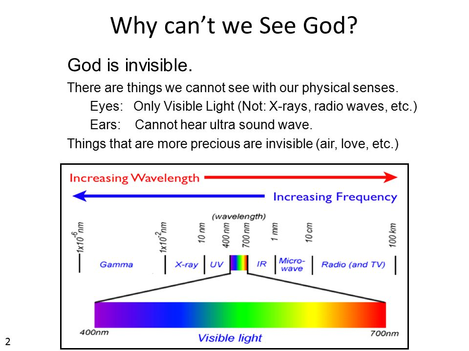 Why can't we See God.God is invisible. There are things we cannot see with our physical senses.