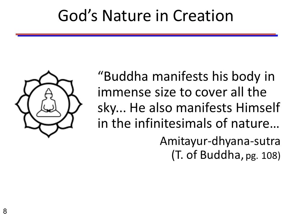 God's Nature in Creation Buddha manifests his body in immense size to cover all the sky...