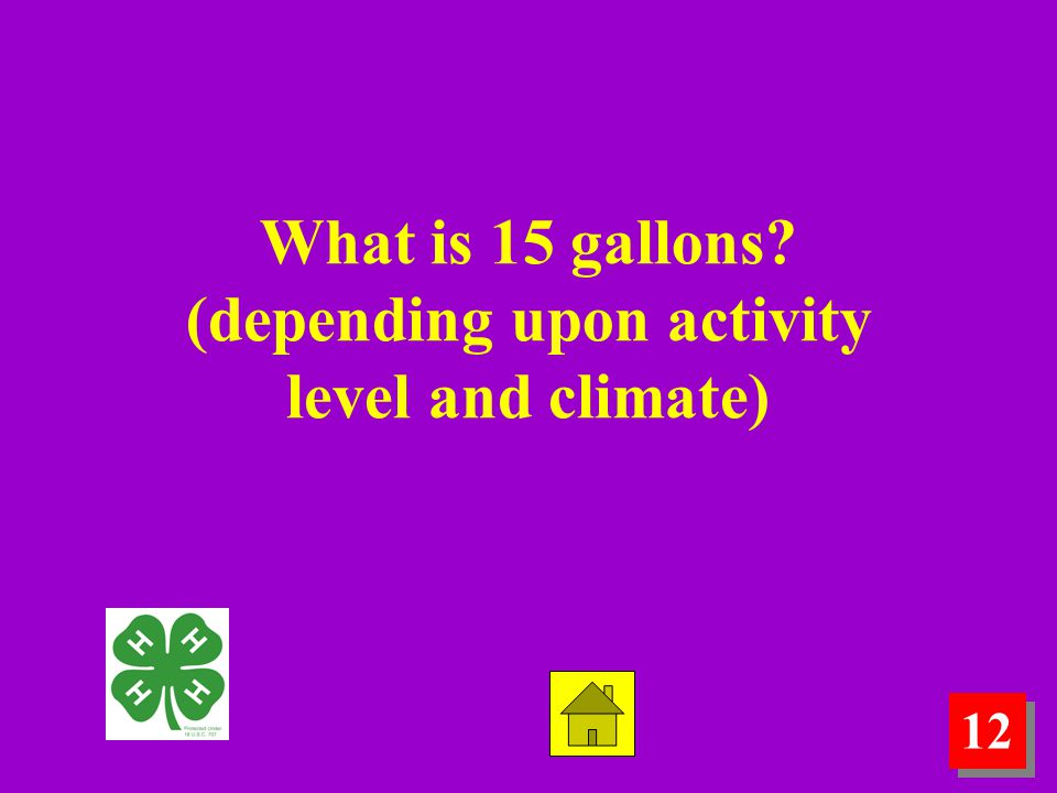 12 What is 15 gallons? (depending upon activity level and climate)