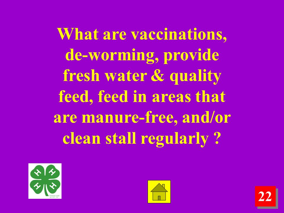 What are vaccinations, de-worming, provide fresh water & quality feed, feed in areas that are manure-free, and/or clean stall regularly .
