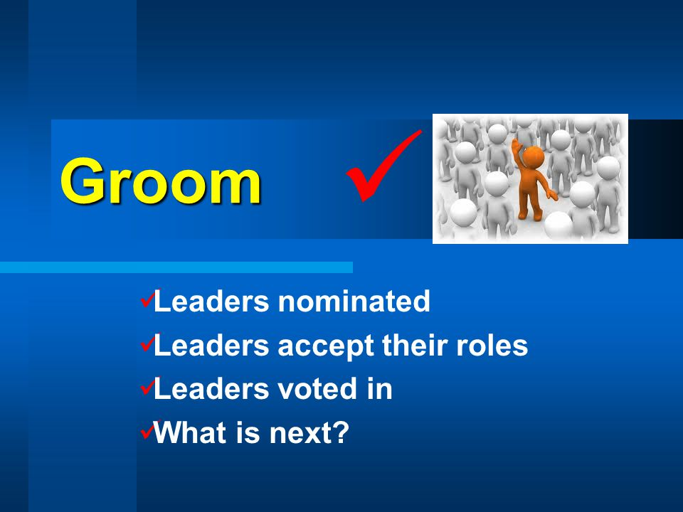 Groom Leaders nominated Leaders accept their roles Leaders voted in What is next
