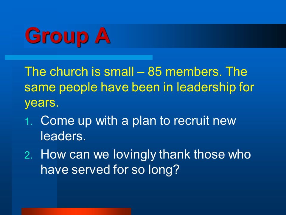 Group A The church is small – 85 members. The same people have been in leadership for years.