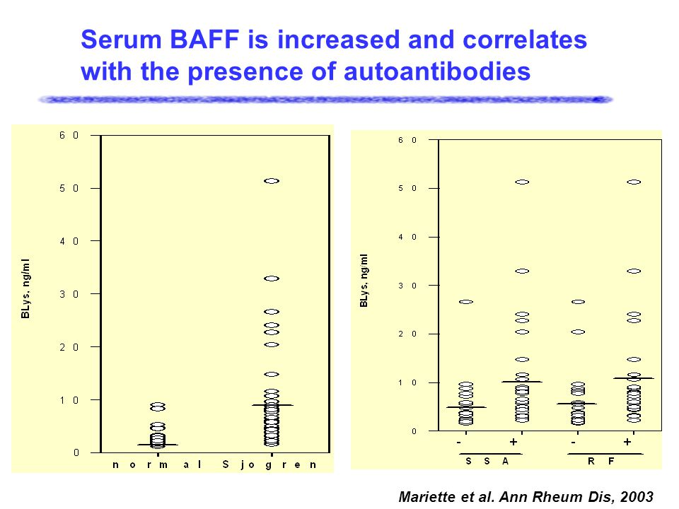 Serum BAFF is increased and correlates with the presence of autoantibodies Mariette et al.