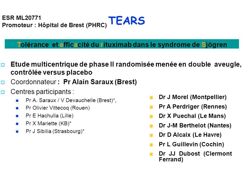 TEARS  Etude multicentrique de phase II randomisée menée en double aveugle, contrôlée versus placebo  Coordonnateur : Pr Alain Saraux (Brest)  Centres participants : Pr A.