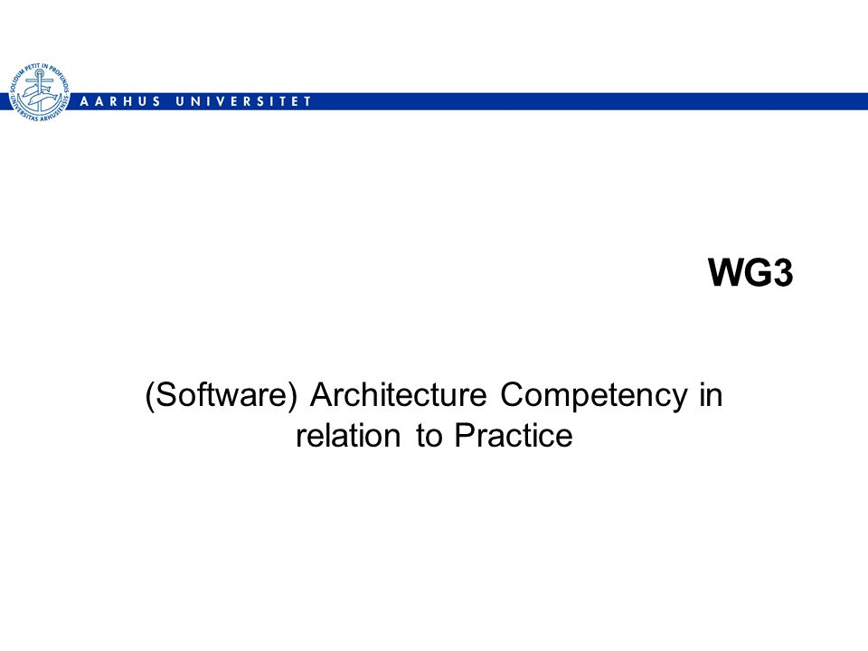 WG3 (Software) Architecture Competency in relation to Practice