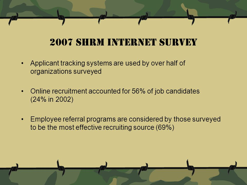 2007 shrm internet survey Applicant tracking systems are used by over half of organizations surveyed Online recruitment accounted for 56% of job candidates (24% in 2002) Employee referral programs are considered by those surveyed to be the most effective recruiting source (69%)