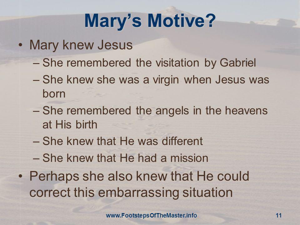 www.FootstepsOfTheMaster.info 11 Mary's Motive.