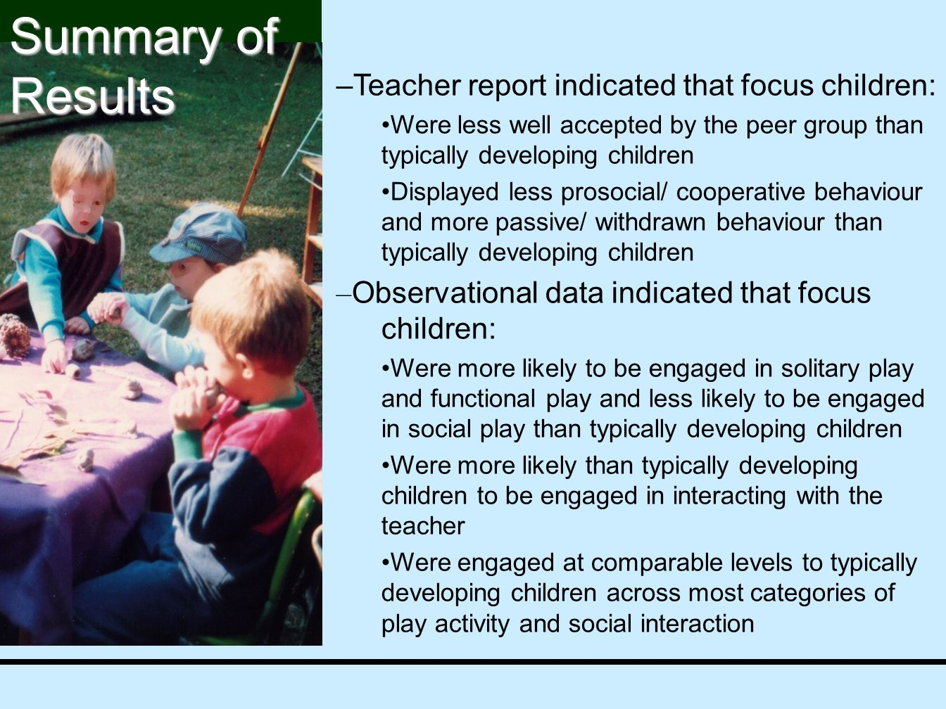 –Teacher report indicated that focus children: Were less well accepted by the peer group than typically developing children Displayed less prosocial/ cooperative behaviour and more passive/ withdrawn behaviour than typically developing children – Observational data indicated that focus children: Were more likely to be engaged in solitary play and functional play and less likely to be engaged in social play than typically developing children Were more likely than typically developing children to be engaged in interacting with the teacher Were engaged at comparable levels to typically developing children across most categories of play activity and social interaction Summary of Results