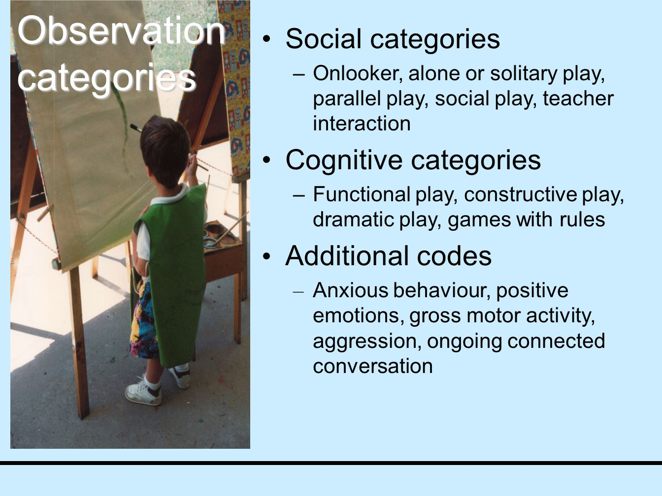 Social categories –Onlooker, alone or solitary play, parallel play, social play, teacher interaction Cognitive categories –Functional play, constructive play, dramatic play, games with rules Additional codes – Anxious behaviour, positive emotions, gross motor activity, aggression, ongoing connected conversation Observation categories