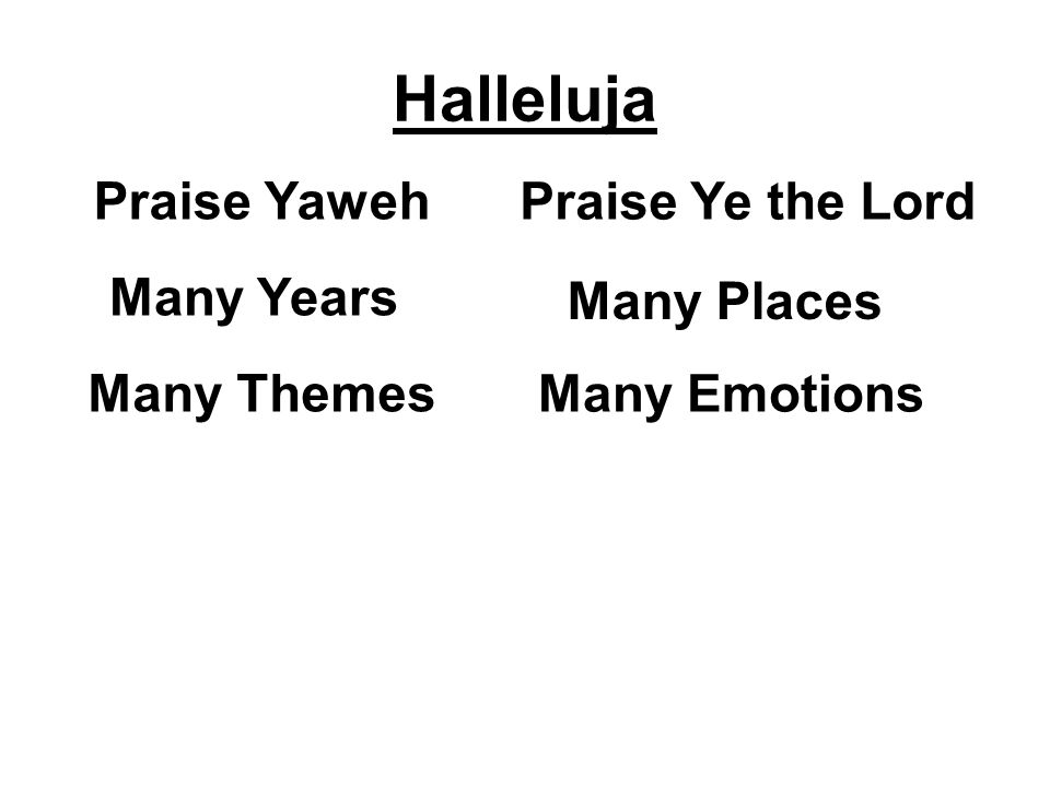 Halleluja Praise Yaweh Praise Ye the Lord Many Years Many Places Many Themes Many Emotions