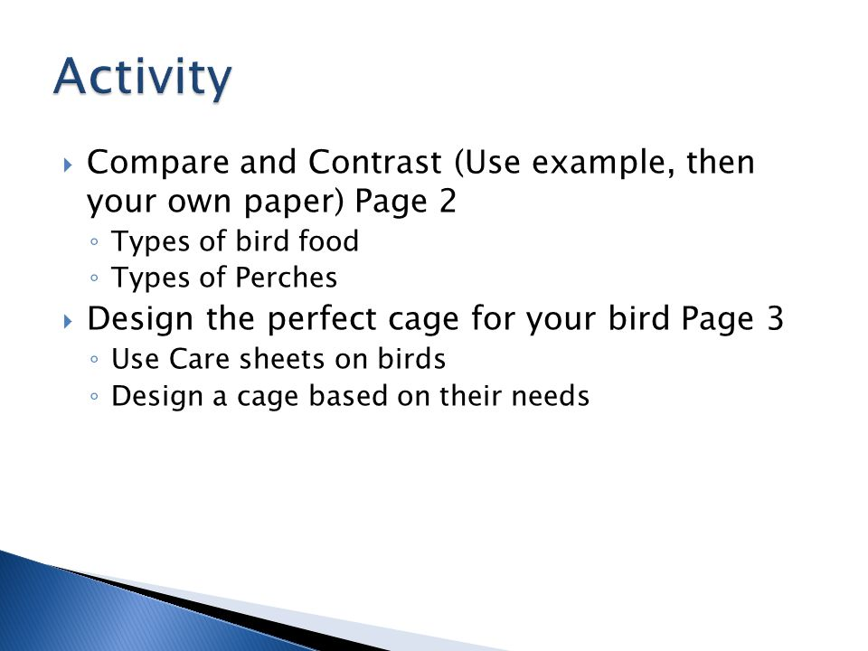  Compare and Contrast (Use example, then your own paper) Page 2 ◦ Types of bird food ◦ Types of Perches  Design the perfect cage for your bird Page 3 ◦ Use Care sheets on birds ◦ Design a cage based on their needs