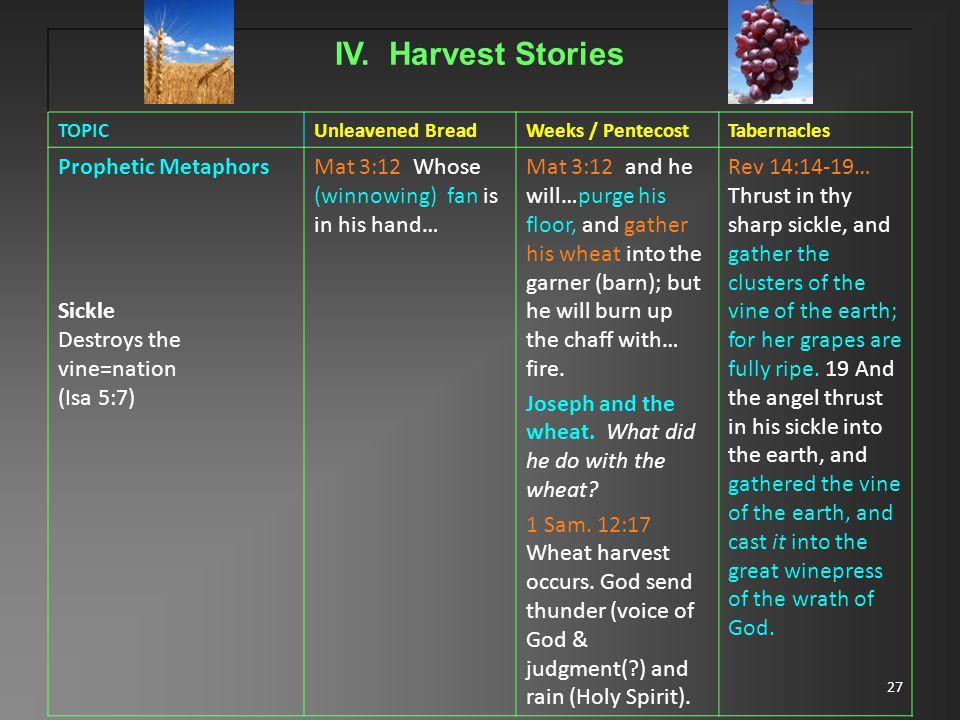 27 IV. Harvest Stories TOPICUnleavened BreadWeeks / PentecostTabernacles Prophetic Metaphors Sickle Destroys the vine=nation (Isa 5:7) Mat 3:12 Whose