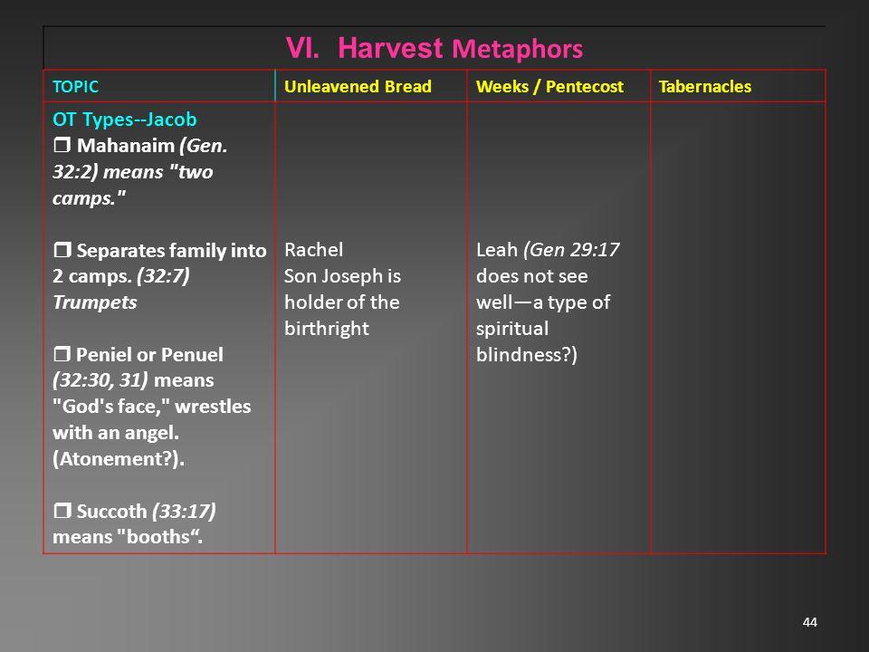 44 VI. Harvest Metaphors TOPICUnleavened BreadWeeks / PentecostTabernacles OT Types--Jacob  Mahanaim (Gen. 32:2) means
