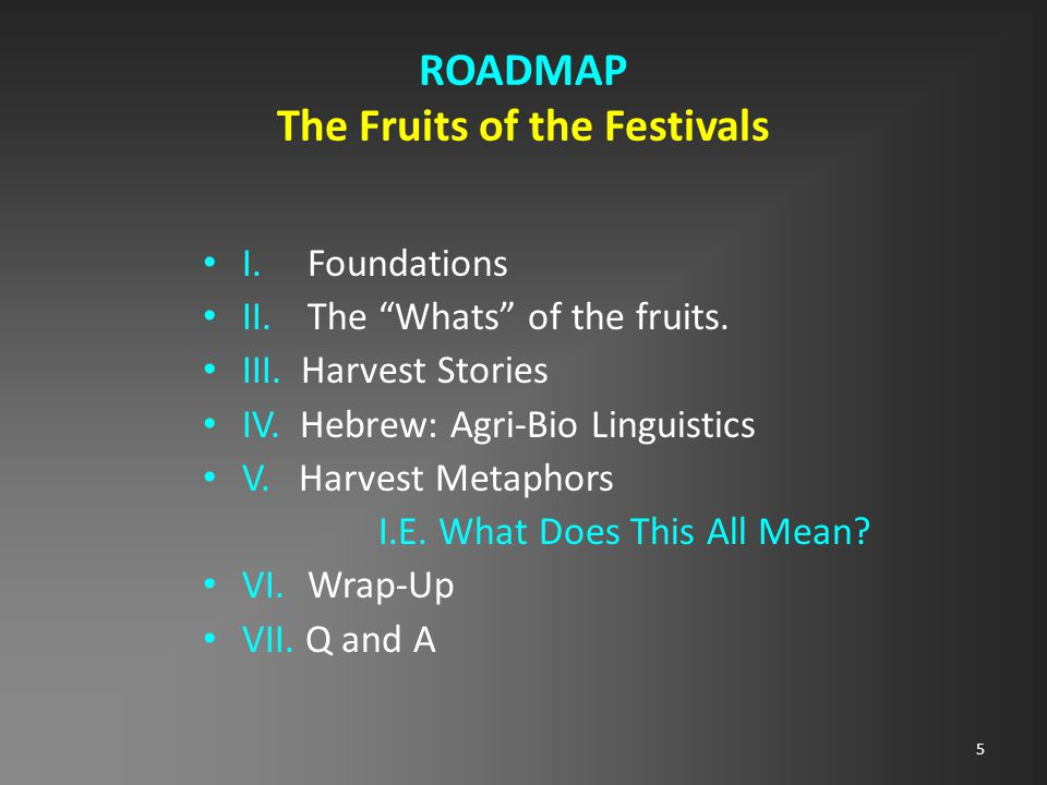 5 ROADMAP The Fruits of the Festivals I.Foundations II.The Whats of the fruits.