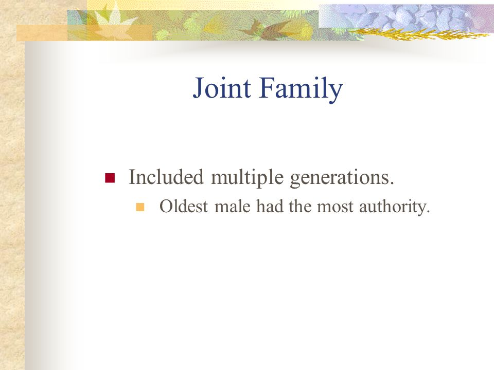 Filial Piety Family's interests are placed before ones own.
