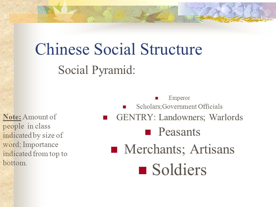 Chinese Social Structure Social Pyramid: Emperor Scholars;Government Officials GENTRY: Landowners; Warlords Peasants Merchants; Artisans Soldiers Note
